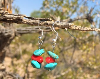 Vintage Turquoise with Coral Earrings