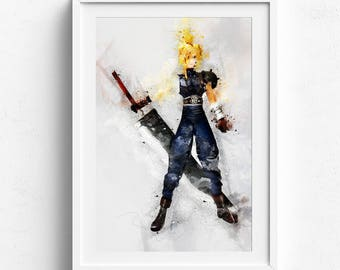 Final fantasy vii, final fantasy 7, final fantasy poster, Cloud Strife Print, cloud strife, video game print cloud strife poster cloudstrife