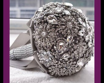 brooch wedding bouquet crystal bling custom colors