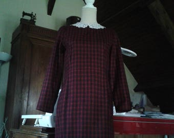 Dress straight winter Plaid/collar Peter Pan lace sleeves.