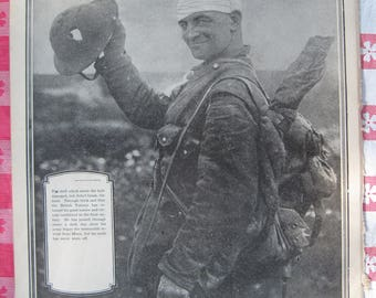 1920– Wounded, but lucky Soldier from Leslie's Photographic Review of The Great War (WW I), Vintage, Rare Account of World War I