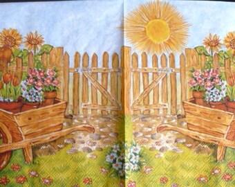 Paper towel wheelbarrow of flowers