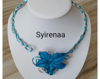 Necklace blue and silver aluminum wire