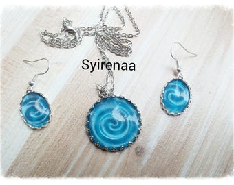 Set earrings and spiral pendant
