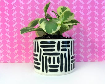 Black Paint Stroke Planter-medium