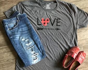 Love Heart Plaid Shirt, Valentines Day Shirt, Custom, Love Shirt, Hugs & Kisses, Plaid, Arrow, VDay