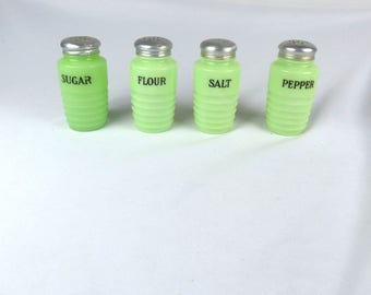 Jeannette Glass McKee Jadeite SALT PEPPER Sugar Flour Ribbed Shakers