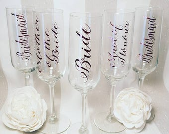 Gorgeous personalised champagne flutes - Rose Gold - any colour