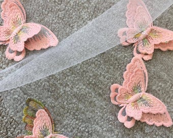 Long, double veil with pink butterflies