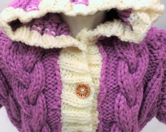 Bunting - Poncho - baby, warm blanket with hood for stroller - pram - color purple-Baby nest baby-knitted - size 10/0 months