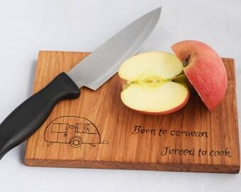 Bespoke caravan chopping board, small caravan size board, solid oak chopping board, oak caravan board, oak board, oak chopping board.