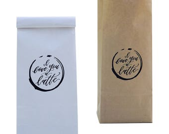 Coffee Bags/Coffee Bean Bags/Paper Coffee Bags/Dessert Bags/Gift Bags/Candy Bags/I Love Latte