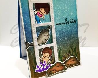 """Hello Card - Underwater Mermaid Card - """"Waving Hello"""" Sentimnet A2 (4.25*5.5) - Underwater Scene Greeting Card"""