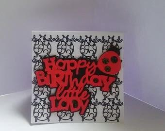 Happy Birthday Lady Bug Note Card 3x3