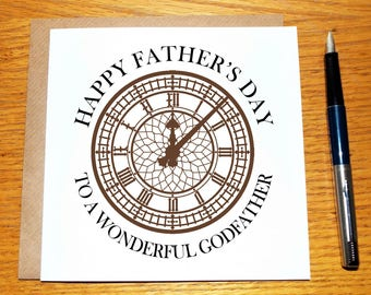 Fathers Day Card For Godfather / Happy Father's Day / Godfather / Unique / Father / Dad / Daddy / Clock