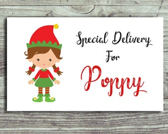 21 Personalised Christmas Gift Labels, Stickers, Gift Tags, Special Delivery, Elf Stickers