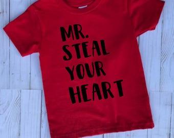 Mr. Steal Your Heart Shirt- Valentine's Day Shirt- Toddler Boy Valentines Shirts- Stud Shirt-Mr. Steal Your Heart Onesie-1st Valentine's Day