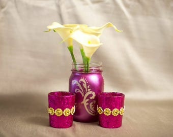 Metallic Fuschia mason jars. With handpainted details. Great for any use !