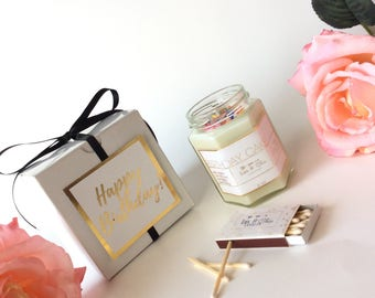 Happy Birthday Candle 6oz-Personalized Birthday Gift-Custom Gift Box-Thinking Of You-Congrats-Thank You-Foil Print-Gold Foil-Rose Gold Foil