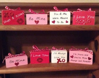 Valentine's Day Love Sayings Distressed Wooden Blocks Valentine's Gifts Or Home Decor