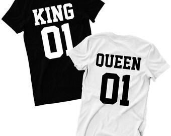 Queen King 01 T Shirt Couple Valentine's Day Girlfriend Boyfriend His Her Gift