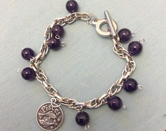 Pisces charm bracelet with amethyst beads