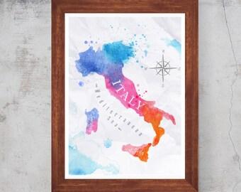 Watercolor Italy Map Mediterranean sea Artwork Wall art home decor Print Poster Canvas/Matt/Silk /A4/A3/A2