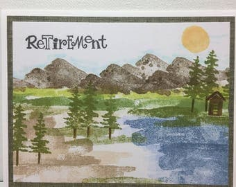 Retirement card, In the Mountains and Lake