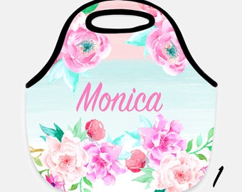 Floral lunch tote, Flower lunch tote, Flower lunchbox, Personalized lunchbox, Adult lunch tote, Children's lunchbox, Floral lunchbox, Tote