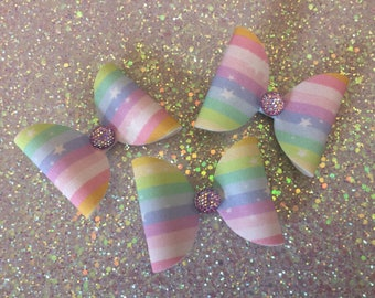 Rainbow Embellished Dolly Hair Bow