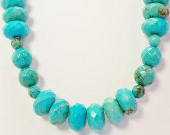 Turquoise Necklace, Large Turquoise Jewelry, Turquoise Bead Necklace, Handmade, Chunky Blue Turquoise Necklace, Blue Turquoise, Green Stone