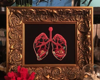 Embroidered Anatomical Botanical Lungs in Frame