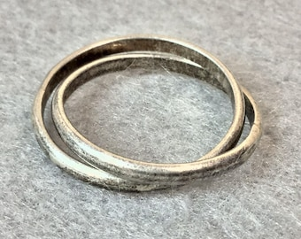 Vintage Sterling Silver Double Set Ring ~ Size 6*