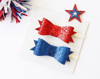 Patriotic Glitter Duo | Red Glitter | Blue Glitter | 4th of July Bows | Coordinating