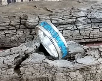 wedding band, sterling silver bands, sterling silver and turguoise, silver and turquoise wedding bands, silver and turquoise bands