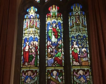 Photo of stained glass windows in UK Church