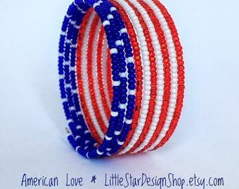 American Flag Seed Bead Bracelet, Fourth of July Kids Jewelry, Teen, Red White Blue, Beaded Wrap Bracelet, 4th of July, USA, Patriotic