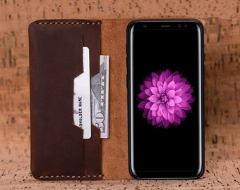 Samsung Galaxy S8 Plus Leather Wallet Case, Leather S8 Wallet, S8 Plus Leather Case, Galaxy S8 Wallet Case, Samsung Galaxy S8 Cases - BROWN