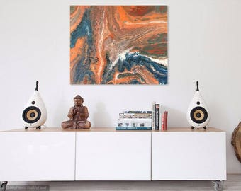 Original Abstract Acrylic Painting on Stretched Canvas, Modern Contemporary Art, Fluid Painting, Orange Blue Painting, Wall Decor OAK Signed