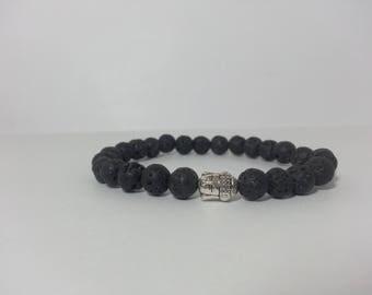 Natural Lava Beads Bracelet | Natural Lava Bracelet | Black Bracelet | Black Beads Bracelet | Fine Bracelets | Lava Round Beads Bracelet