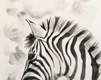 ORIGINAL 11x14 Zebra Watercolor