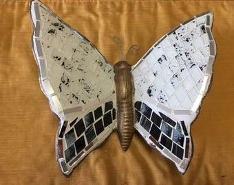 Mosaic Butterfly/ Mosaic Butterfly wall art/ Butterfly wall art/ Mosaic art/ white butterfly/ Glass Butterfly