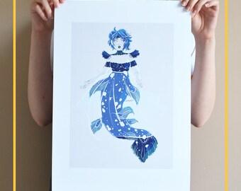 A3 Unique Illustration art print - Mermaid Coelacanth - coelacanth print - ocean art print - digital illustration art print - mermaid print