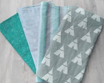 Baby Boy Burp Cloth Set/ Teepee Baby Boy/ Burp Cloths/ Burp Cloth Set/ Baby Boy/ Baby Shower Gift/ Baby Burp Cloths/ Teepee Burp Cloths
