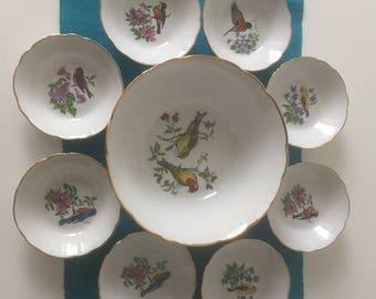 Dessert set - porcelain - birds - 1950