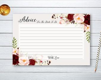 Advice Card Bridal Shower Floral Printable Games Burgundy Marsala Wedding Card Instant Download BG-003