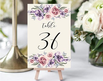Wedding Table Numbers,Printable Table Numbers,Purple Lilac Pink Table Numbers,Table Numbers Wedding,31-40,4x6,PDF Instant Download TN-033