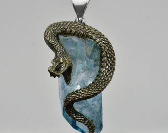 Metal Clay Hand Carved Snake with Aqua Aura Quartz Crystal Pendant