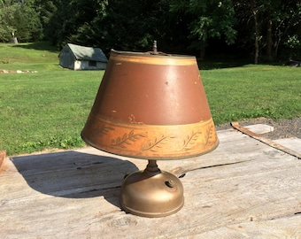 Antique Vintage AKRON LAMP CO Brass Metal Gas Torch Lamp Lantern with Original Shade