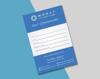 Monat Gift Certificate, Monat Gift Card, Custom Monat Hair Care Card, Fast Free Personalization, Monat Business Cards MN01